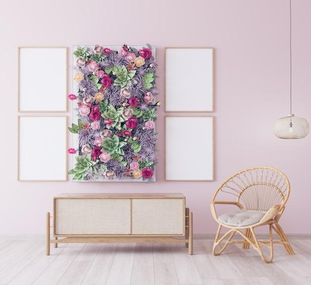 Frame design in pink room, wooden rattan furniture in scandinavian style