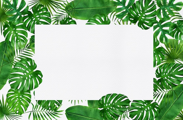 Рамка дизайн тропические листья акварель
