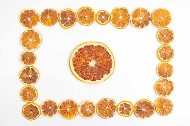 Frame of dried lemon slices. vitamin fruit food