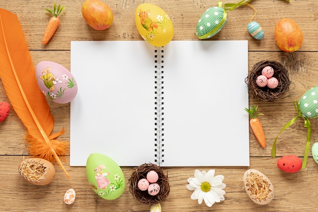 Frame of eggs and decorations for easter