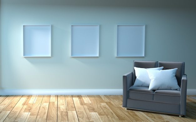Frame on empty white wall background