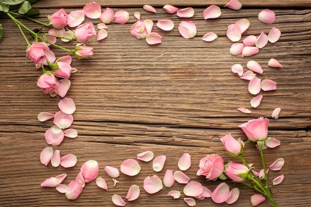 Frame of flowers petals