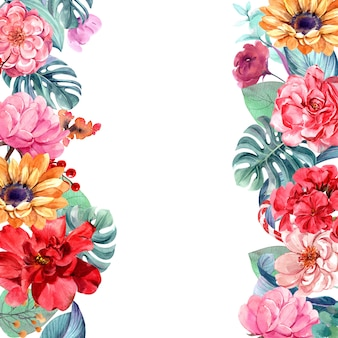 Frame flowers with watercolor