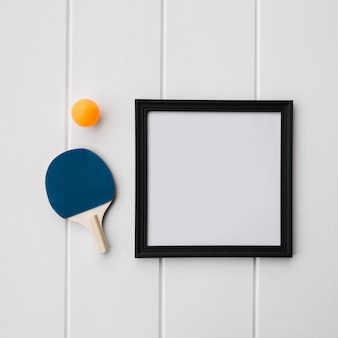 Frame for mock up with racket and ball