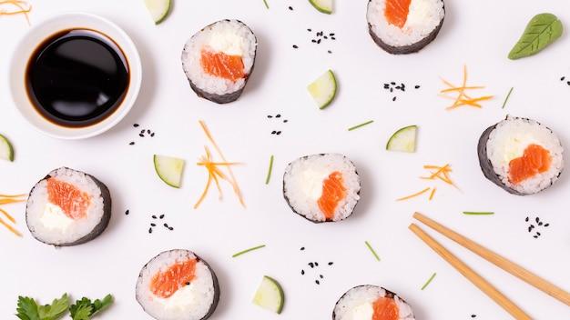 Frame of fresh sushi