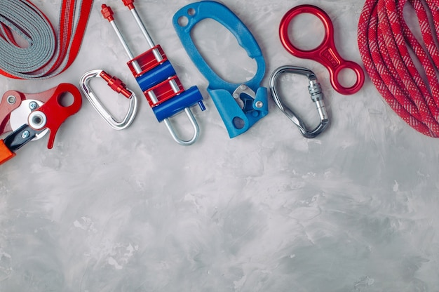 Frame from safety equipment using in climbing with copy space