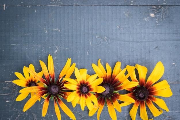 Frame of garden flowers on blue wooden table