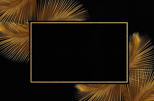 Frame of gold leaves background