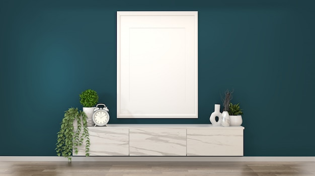 Frame on granite cabinets in a dark green room and decoration.3d rendering