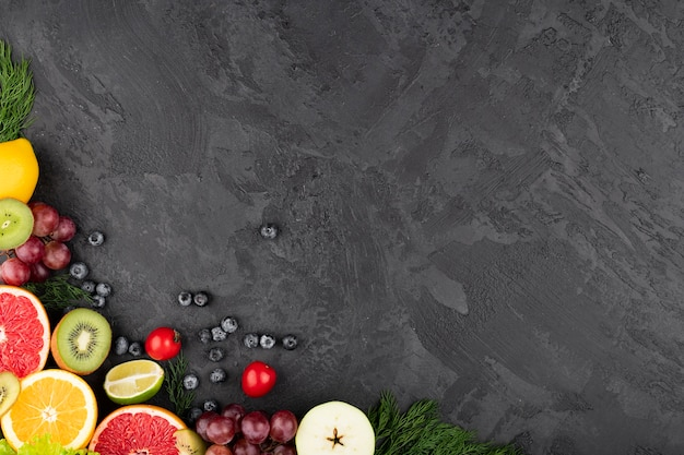 Frame grunge background with fruit