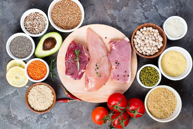 Frame of healthy food clean eating selection including certain protein prevents cancer