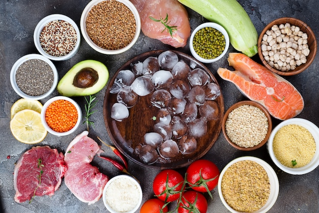 Frame of healthy food clean eating selection including certain protein prevents