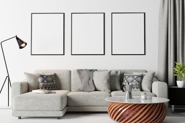 Рамка в современном интерьере стены, гостиной, скандинавском стиле