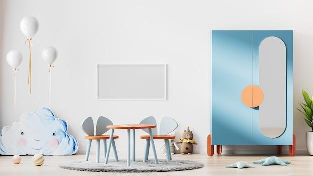 현대 스칸디나비아 스타일의 어린이 방 인테리어, 어린이 방 인테리어 배경, 보육 프레임