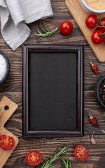 Frame of ingredients on table