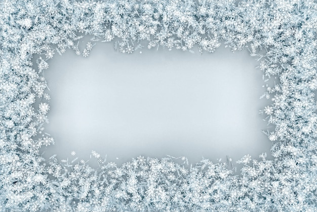 The frame is voluminous rectangular from a set of snowflakes
