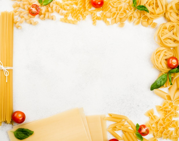 Frame of italian pasta