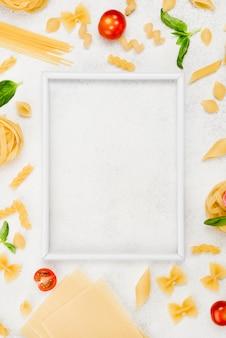 Frame and italian pasta