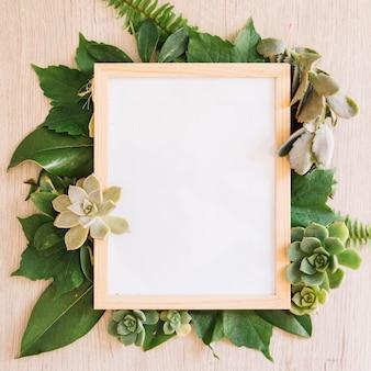Frame on leaves