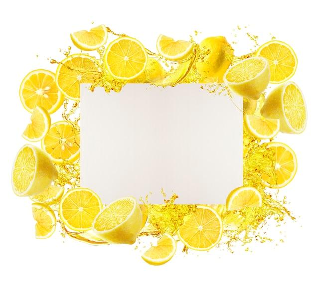 Frame of lemon juice splash