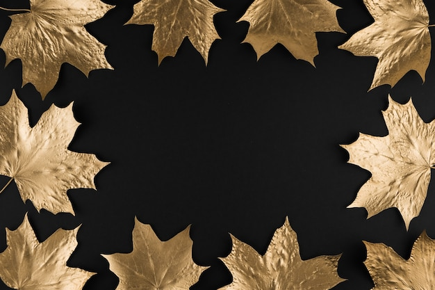Frame made of autumn golden maple leaves on black background
