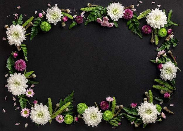 Frame made of colorful flowers chrysanthemum isolated on black background. flowers composition. summer wreath of chrysanthemum flowers. flat lay.
