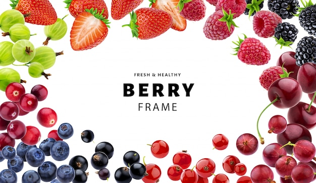 Frame made of different berries isolated on white