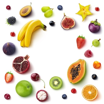 Frame made of different fruits and berries