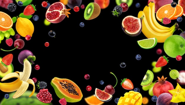 Frame made of fruits and berries