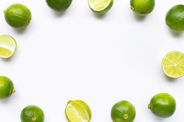 Frame made of limes isolated on white
