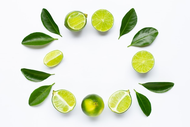 Frame made of limes with leaves