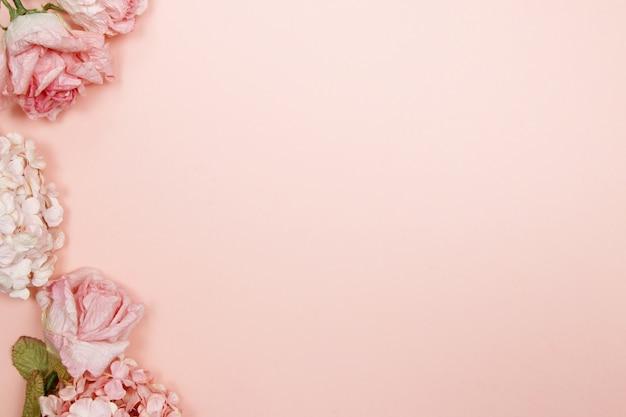 ピンクとベージュのバラのフレーム、ピンクの背景の紫陽花。フラットレイ、トップビュー。