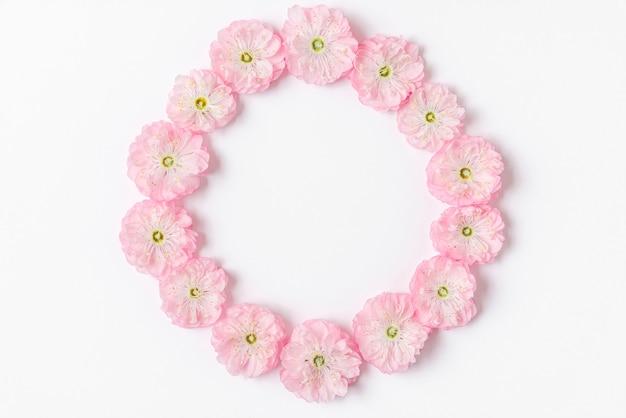 白い背景で隔離のピンクの桜の花で作られたフレーム。フラットレイ。上面図。結婚式、バレンタインデー、女性の日のコンセプト
