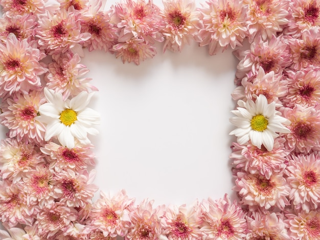 Frame made of pink and white flowers on white background