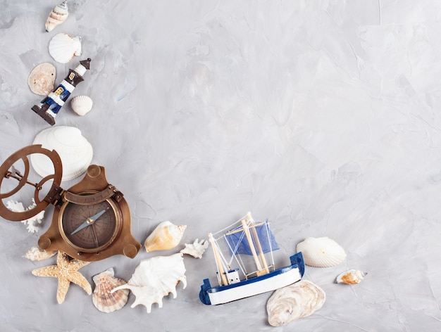 Frame made of seashells. summer vacations, travel concept