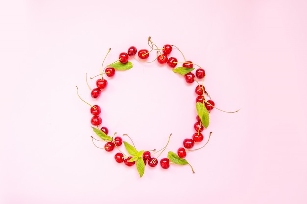 Frame made of sweet cherries