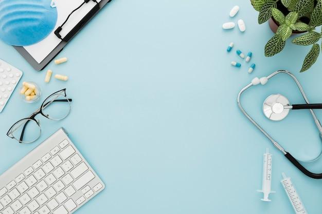 Frame of medical equipment on desk