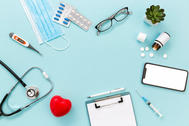 Frame of medicine on table