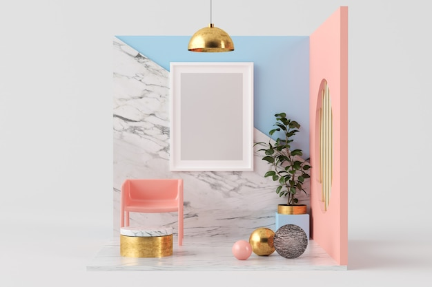 Frame mock up on a 3d rendering pink, marble and blue surreal room