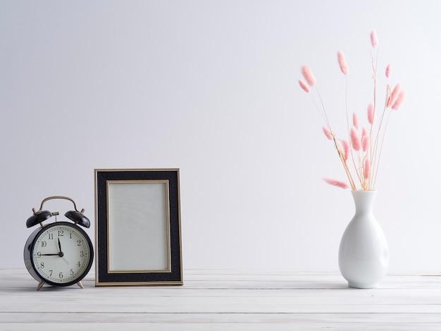 Frame mock up and black clock.