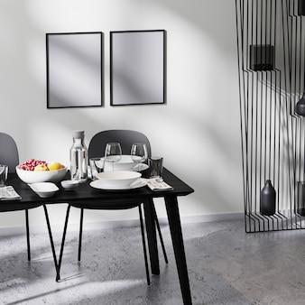 현대적인 미니멀리즘 디자인 인테리어로 만든 프레임, 의자, 흰색 벽, 콘크리트 바닥이 있는 식탁 가까이, 테이블 서빙, 3d 렌더링