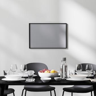 검은 테이블과 의자, 햇빛이 비치는 흰색 벽, 콘크리트 바닥, 미니멀리즘 스타일, 스칸디나비아, 3d 렌더링이 있는 현대적인 식당 내부의 프레임