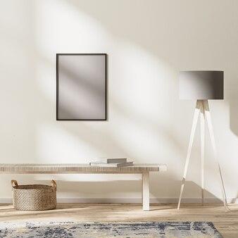 현대적인 거실 인테리어, 햇빛이 비치는 밝은 방, 벽 조롱, 3d 렌더링