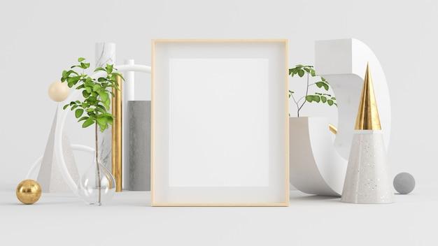Frame mock up on minimal abstract composition mock up 3d rendering