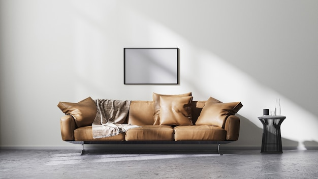 Frame mock up in modern living room interior with white wall and sun rays, brown leather sofa and black design coffee table on raw concrete floor, scandinavian minimalistic style, 3d rendering