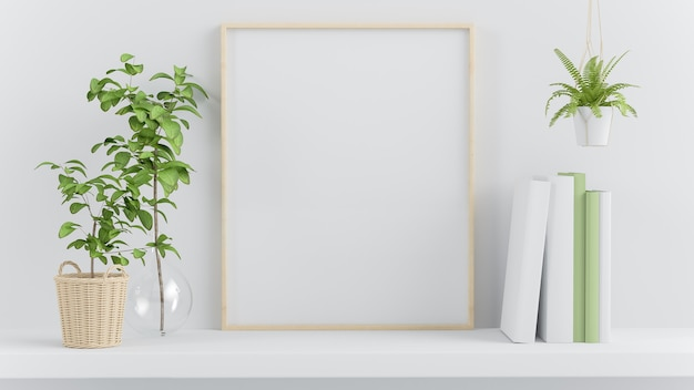 녹색 식물 장식 3d 렌더링 선반에 프레임 모의