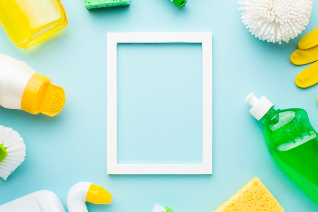 Frame mock-up with cleaning products