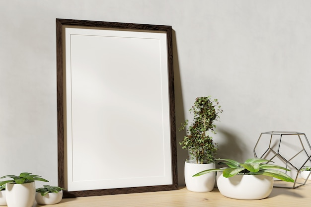 Frame mock up with plants on a shelf - 3d rendering