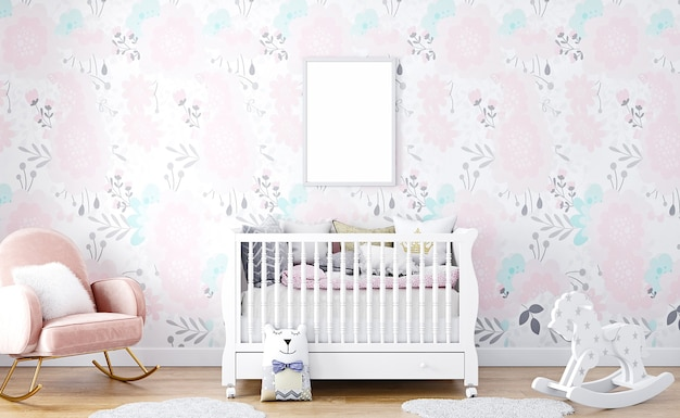 Frame mockup a4 baby room with pink wallpaper