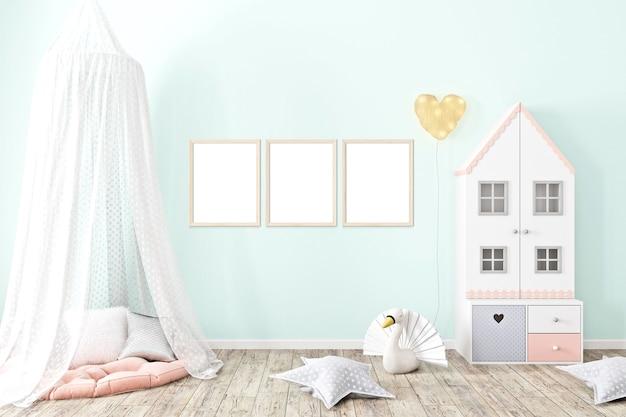 분홍색 벽지가 있는 프레임 모형 a4 아기 방